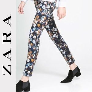 Zara Floral Skinny Ankle Pants